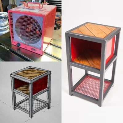 Upcycled Shop Heater Side Table Slipstream Creations