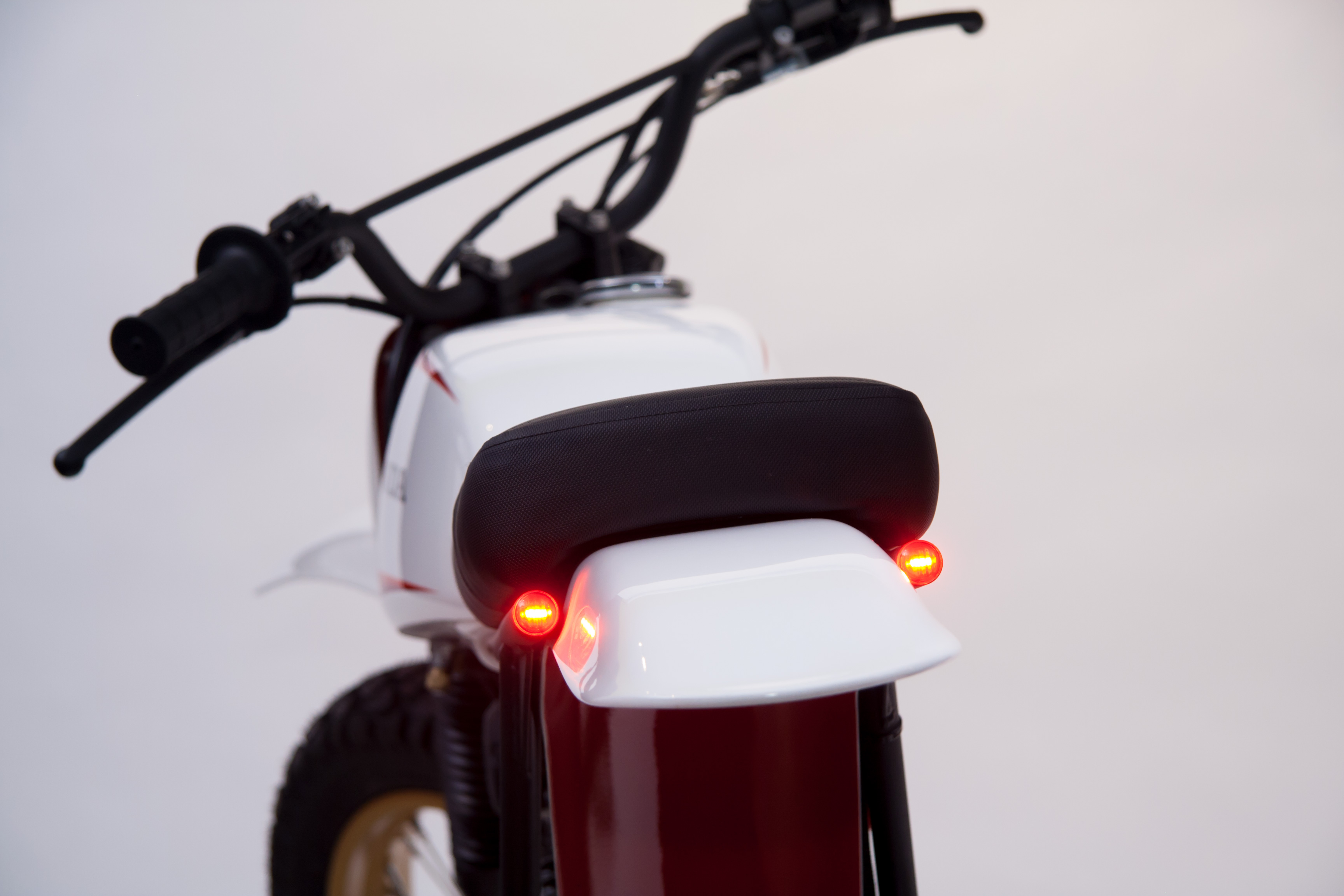 Honda SL125 LED brake lights in subframe tubing